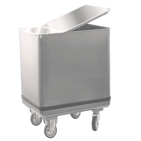 Trichterwagen für Mehl mit Deckel in Edelstahl, 195 Liter