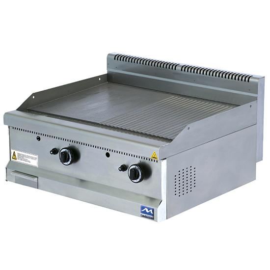 Gas-Grillplatte, glatt und gerillt, Tischmodell 80 cm