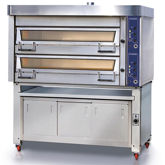Elektro-Bäckereiofen ohne Dampferzeuger, 2+2x 60x40 cm H=18 cm mit Gärschrank und Abzugshaube, mech.