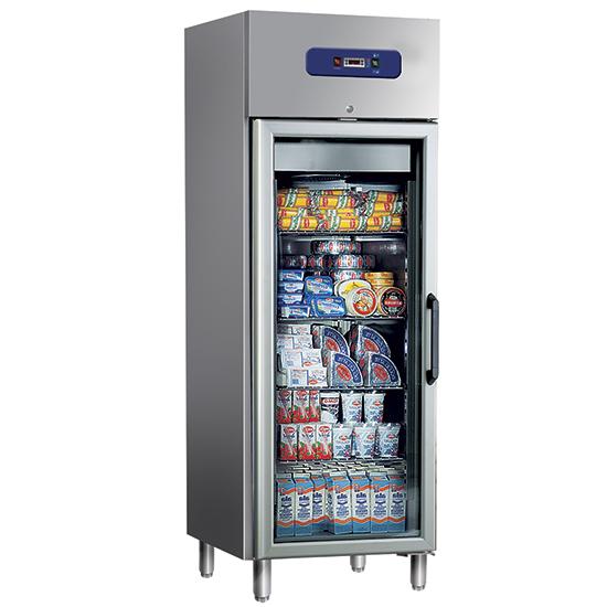 Kühlschrank 400 Liter aus Edelstahl mit Glastür, 46x48,5 cm, -2°/+8°C