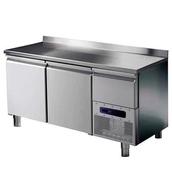 Kühltisch mit 2 Türen GN 1/1 und Aufkantung, -2°/+8°C