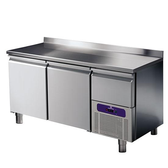 Kühltisch 2 Türen GN 1/1 mit Aufkantung und gekühlter Schublade, -2°/+8°C