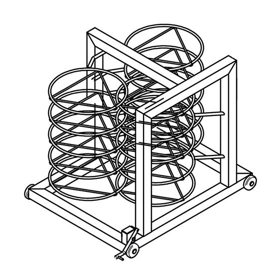 Tellerstapelstruktur für Wagen, 18x ø 310 mm