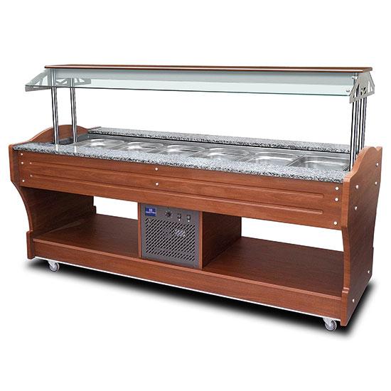 kaltes Buffet mit statischer Kühlung, Inselmodell, 6x GN 1/1 H=150 mm, Haube nicht absenkbar