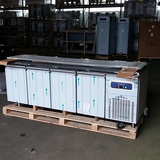 Vorbereitungstisch mit Glasstruktur, gekühlt, 6x GN 1/1 h=100 mm - DEFEKT