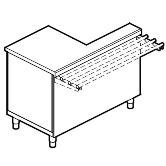 linkes Kassenelement mit Schutz, mit Schublade und Steckdose