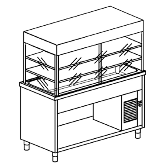 Kühlvitrinen-Element mit Kühlwanne auf offenem Schrank, B=2000 mm, 5x GN 1/1