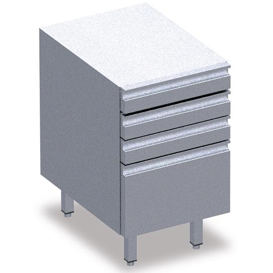 Schubladenblock mit Behältern, 4 Schubladen EN
