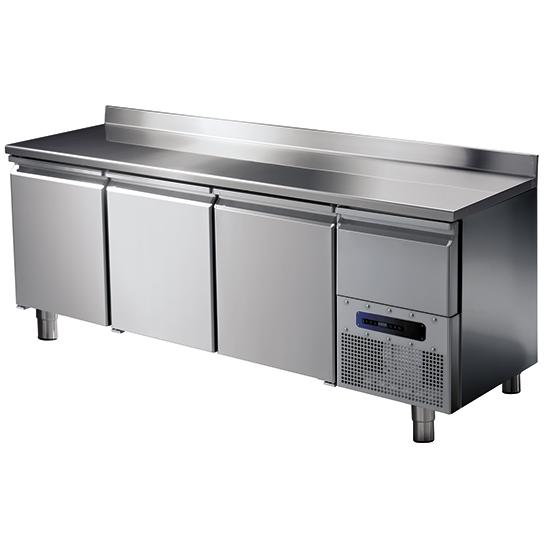 Tiefkühltisch mit 3 Türen GN 1/1 und Aufkantung, -10°/-20°C
