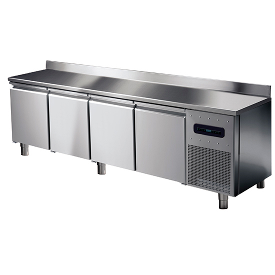 Tiefkühltisch mit 4 Türen GN 1/1 und Aufkantung, -10°/-20°C
