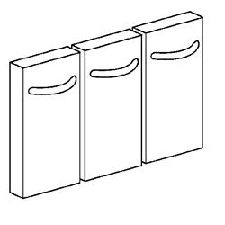 Set aus 3 Türen für Unterbauten, Breite 400 und 800 mm