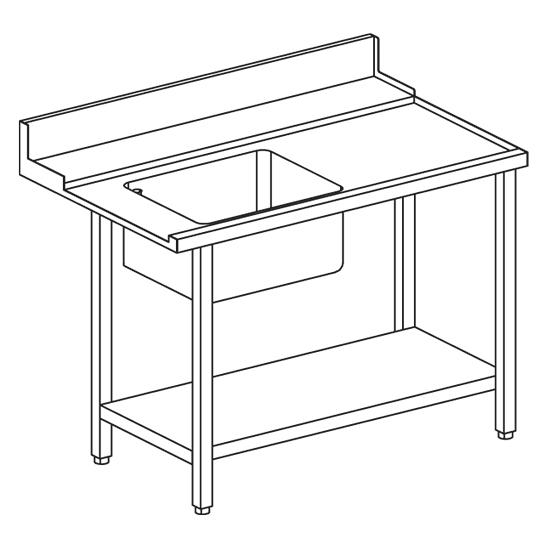 rechter Zulauftisch mit Becken links für Korbdurchschubspüler OPT1012/CFN, B=1500 mm