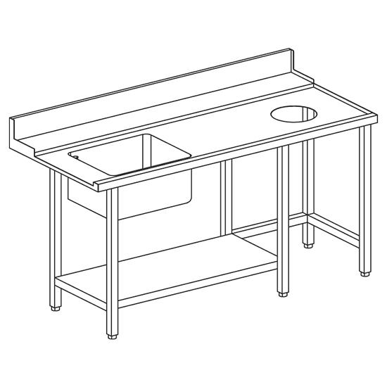 rechter Zulauftisch mit Becken links und Abfallloch für OPT1012/CFN, B=1500 mm