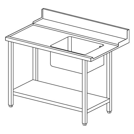 linker Zulauftisch mit Becken rechts für Korbdurchschubspüler OPT1012/CFN, B=1500 mm