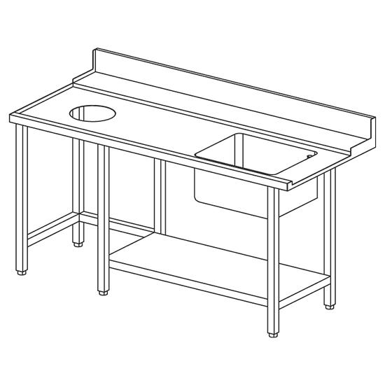 linker Zulauftisch mit Becken rechts und Abfallloch für OPT1012/CFN, B=1500 mm